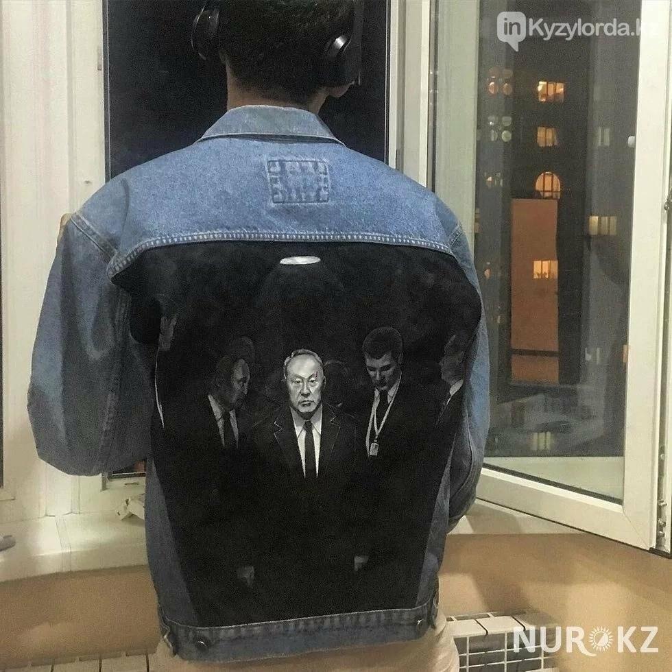 Алматинка нарисовала знаменитый портрет Назарбаева на джинсовой куртке, фото-2