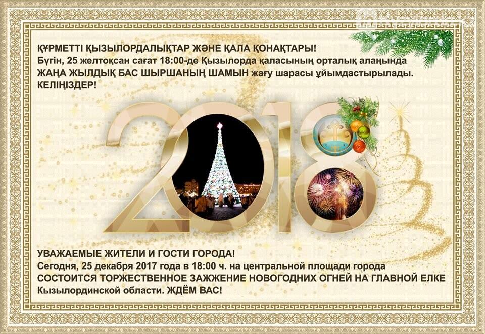 Сегодня в Кызылорде состоится торжественное зажжение елки, фото-1